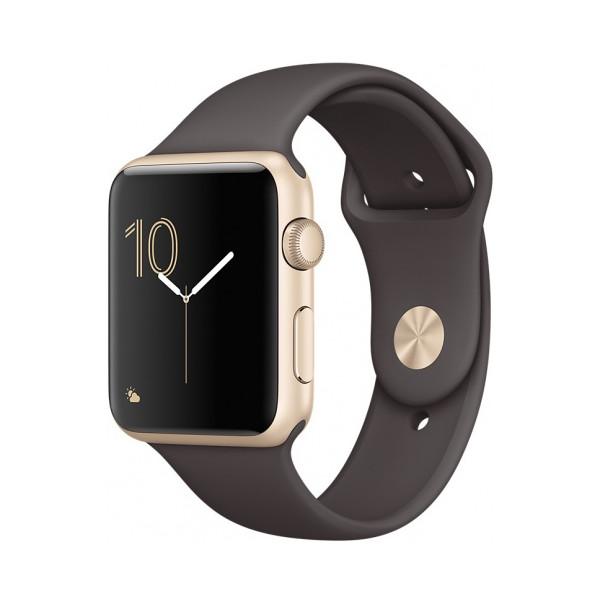 """Умные часы Apple Watch Series 2 (42мм), золотистый алюминий (ремешок """"темное какао"""")"""