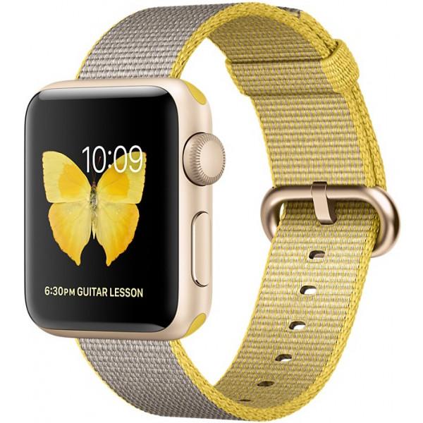 Умные часы Apple Watch Series 2 (38мм), золотистый алюминий (спортивный желтый/светло-серый ремешок)