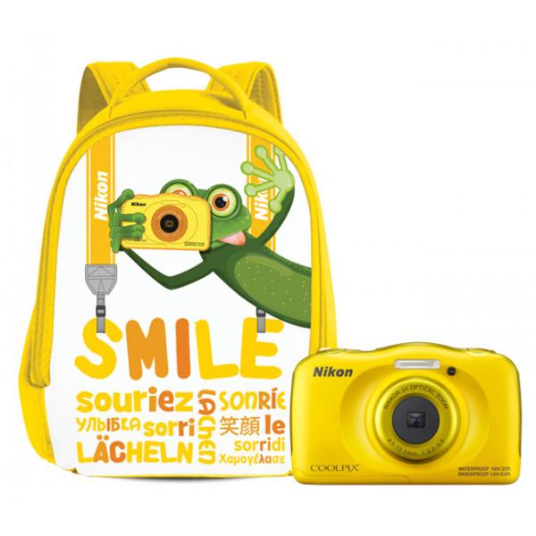 Цифровой фотоаппарат Nikon Coolpix W100 желтый с рюкзаком
