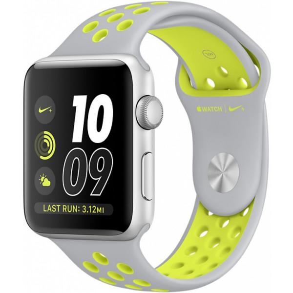Умные часы Apple Watch Series 2 Nike+ (42мм), серебристые с серо-салатовым ремешком