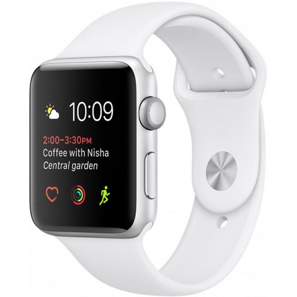 Умные часы Apple Watch Series 2 (38мм), серебристый алюминий (белый ремешок)