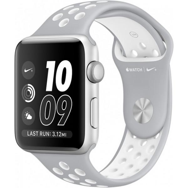 Умные часы Apple Watch Series 2 Nike+ (42мм), серебристые с серо-белым ремешком