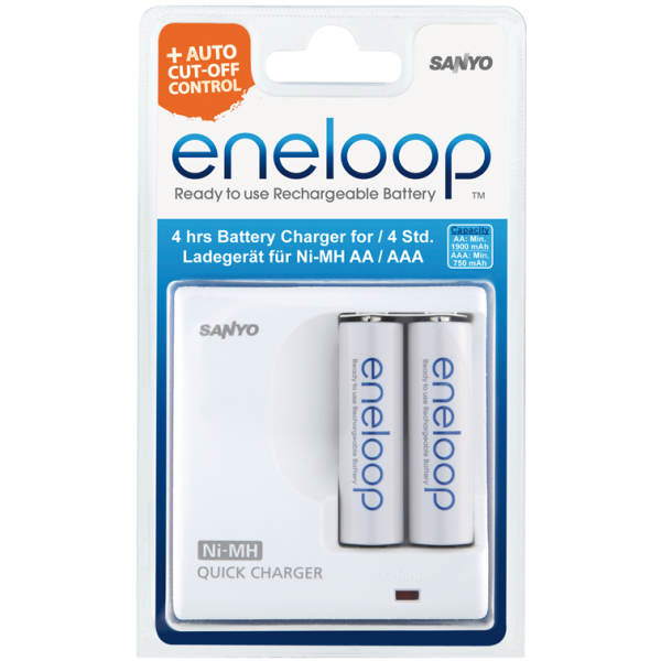 Зарядное устройство SANYO Eneloop MDR02-E-2-4UTGB для 2 или1 акк АА/ААА Ni-MH + 2шт ААA 750 mAh
