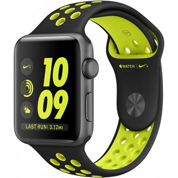 Умные часы Apple Watch Series 2 Nike+ (42мм), серые с черно-салатовым ремешком