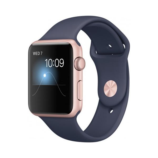"""Умные часы Apple Watch Series 2 (42мм), """"розовое золото"""" (темно-синий ремешок)"""