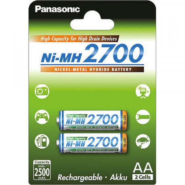 Аккумулятор Panasonic AA 2700mAh (BK-3HGAE/2BE), 2шт.