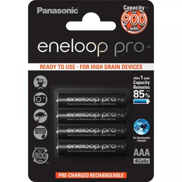Аккумулятор Panasonic Eneloop Pro AAA 900mAh (BK-4HCDE/4BE), 4 шт.