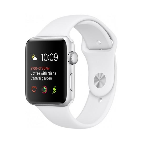 Умные часы Apple Watch Series 2 (42мм), серебристый алюминий (белый ремешок)