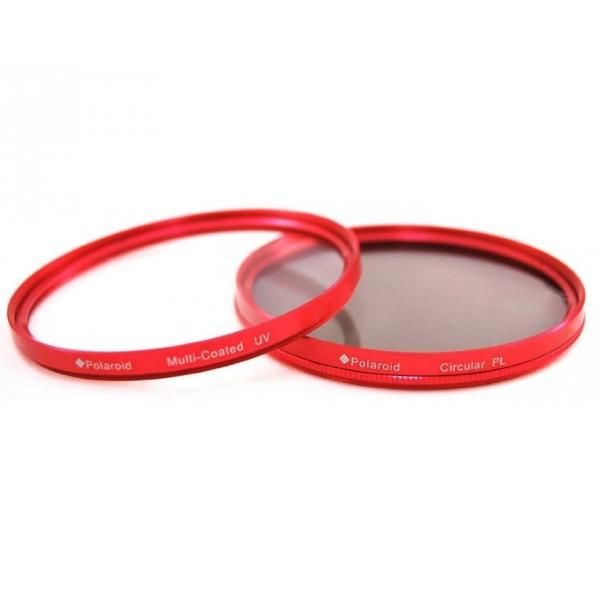 Набор из 2 фильтров Polaroid 72mm (MC UV Protector, CPL) красный