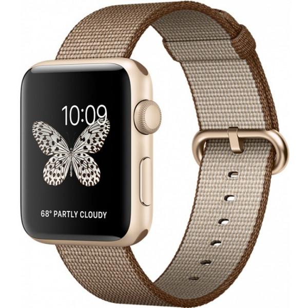 Умные часы Apple Watch Series 2 (42мм), золотистый алюминий (спортивный кофейный/карамельный ремешок)