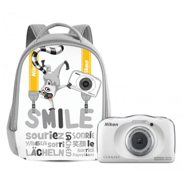 Цифровой фотоаппарат Nikon Coolpix W100 белый с рюкзаком