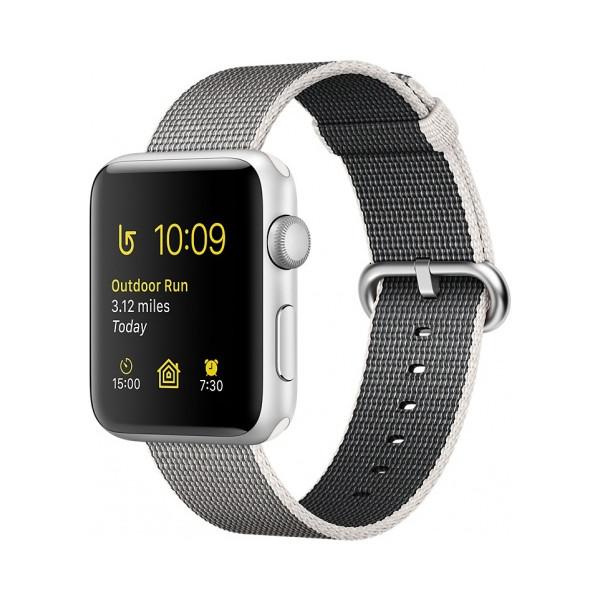 Умные часы Apple Watch Series 2 (42мм), серебристый алюминий (нейлоновый ремешок жемчужного цвета)