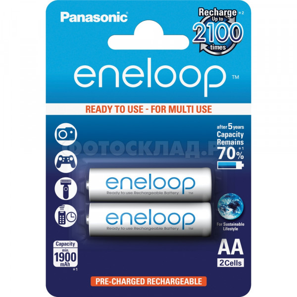 Аккумулятор Panasonic Eneloop AA 1900mAh (BK-3MCCE/2BE), 2 шт.